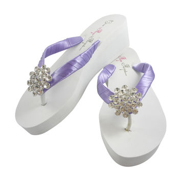Tropic Lilac Bling Wedge Flip Flops for the Wedding with Jewels in Ivory or White Heel Sandals