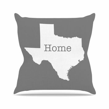"Bruce Stanfield ""Texas Is Home"" White Gray Outdoor Throw Pillow"