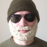 Handmade Crochet Beard Hat in Olive green beanie hat with Blonde beard santa claus, Halloween for men, women, kids, or babies all sizes
