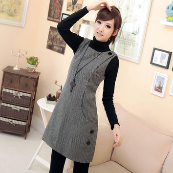 Plus size slim gentlewomen fashion autumn and winter woolen houndstooth vest one-piece dress  Free Shipping