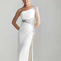 Ivory Jersey Sheer Beaded One Sleeve Prom Dress - Unique Vintage - Cocktail, Pinup, Holiday & Prom Dresses.