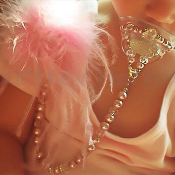 5in1 Pacifier Clip converts to Bracelet, Necklace Hair Accessory Pink Feather Personalized