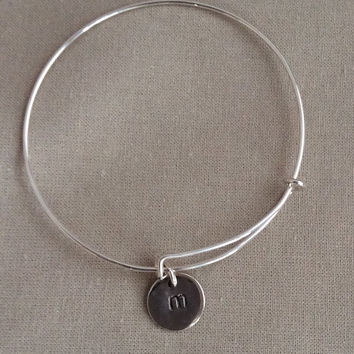 Bangle Bracelet with Initial Charm, Personalized Bracelet, Custom Hand Stamped