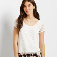 Aeropostale  Lace Cap-Sleeve Top