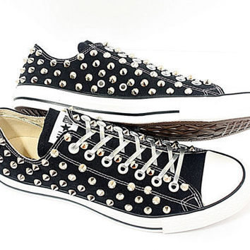 Studded Converse silver stud converse low with custom design blacks sneakers CUSTOMDUO on ETSY