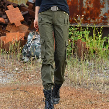 Women Army Green Cargo Pants 2016 New Fashion 100% Cotton Female Casual Pants Military Style Free Shipping