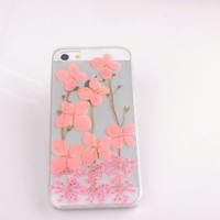 Pink Pressed flowers Case for iPhone 4s