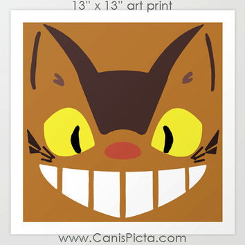 Catbus My Neighbor Totoro Kawaii Square 13x13 Pop Art Print Anime Manga Hayao Miyazaki Studio Ghibli Gift Wall Home Decor Brown Mustard