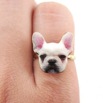 White French Bulldog Puppy Face Shaped Adjustable Ring | Animal Jewelry