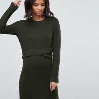 ASOS Knitted Dress with Wrap Detail at asos.com
