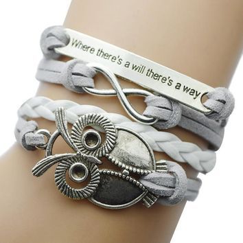 Owl Handmade Leather Braid Fashion Bracelet