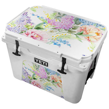 Vintage Carnation Watercolor Painting Skin for the Yeti Tundra Cooler