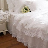Shabby and Elegant White Cutwork Lace Duvet Cover Bedding Set, Queen size