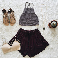 A Crochet Halter Crop in Mocha