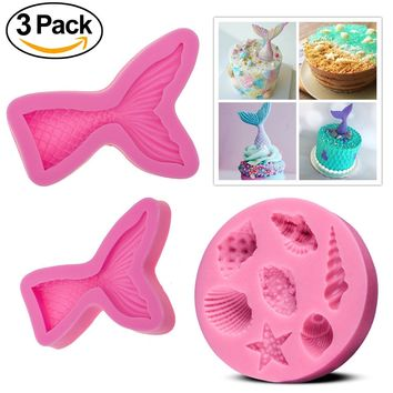 (Set of 3) Silicone Fondant Cake Molds, Non-stick BPA Free Chocolate, Jelly, Candy Mold, Cupcake DIY Baking Decoration Tool, Mermaid Tails (Large + Small) + Sea Shell