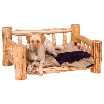 Pastoral Traditional Cedar Dog Bed with Standard Mattress
