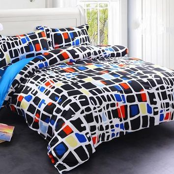 Brocade Colorful Blocks Texture Printed Luxury 4-Piece Cotton Bedding Sets/Duvet Cover