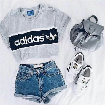 DCCKJL0 Adidas' Short Shirt Crop Top Tee Blouse