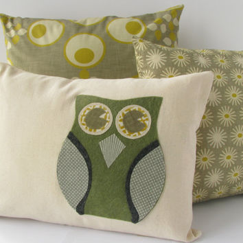 "Owl Applique Canvas Pillowcover 12""x16"""