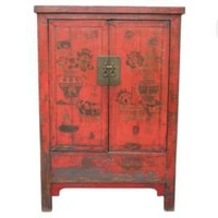 One Kings Lane - Tenango - Elm Cabinet, Distressed Multi Color