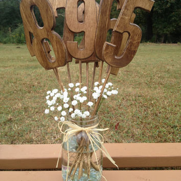 Rustic Style Wedding Table Numbers - Set Includes Numbers 1-12 - Shabby Chic - Wooden Table Numbers
