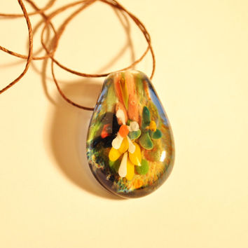 Blown Glass Flower Pendant , Focal implosion imploded cobalt blue white orange Blown Glass Necklace , Boro , Nature Jewelry Rainbow Bright