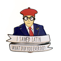 Max Fischer I Saved Latin Enamel Brooch - Wes Anderson Rushmore Illustrated Enamel Pin