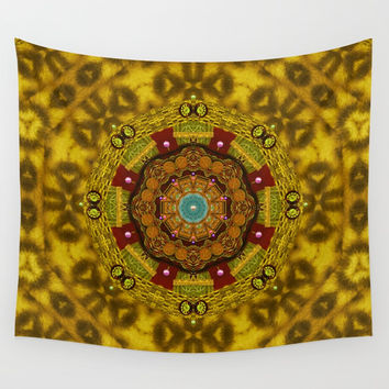 Mandala star on fur pop art Wall Tapestry by Pepita Selles