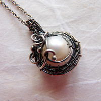 Silver Pearl necklace - wire wrapped - pearl pendant