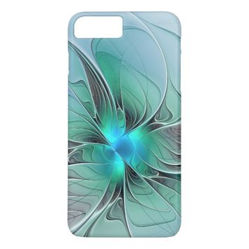 Abstract With Blue, Modern Fractal Art iPhone 7 Plus Case