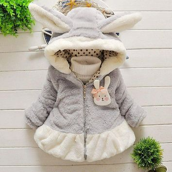 Winter Infant Rabbit ears cashmere Thicken Warm Coats Baby Girls Faux Fur Fleece Hoodie Jackets Kids Cotton Clothing Outerwear