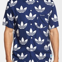 Men's adidas Originals '25 Aloha Trefoil' Short Sleeve Print Woven Shirt,