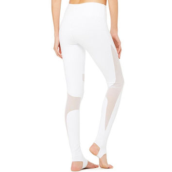 JNC White Mesh Stirrup Yoga Pants