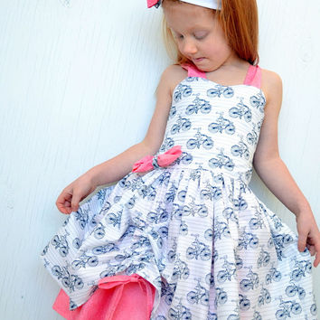 Girls Party Dress, Twirl Dress, Fancy Toddler Boutique Dress, Summer Dress, Pink White Bicycle Print Dress, Custom Order Size 6 months - 8