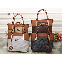 MK Women Shopping Bag Leather Satchel Handbag Shoulder Bag Crossbody Two piece Set