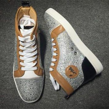 PEAPUX5 Cl Christian Louboutin Rhinestone Style #1933 Sneakers Fashion Shoes