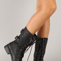 Zipper Round Toe Military Lace Up Boot