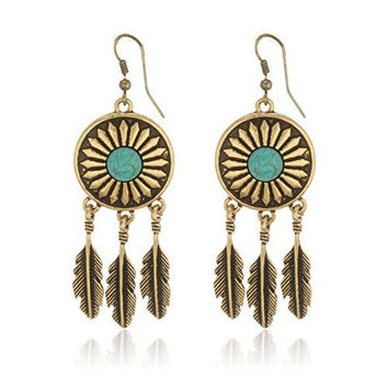Antique Goldstone Western Leaf Earrings with Turquoise Stones