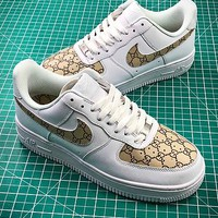 Gucci X Nike Air Force 1 Af1 Low White Brown Sport Shoes - Best Online Sale