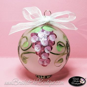 Hand Painted Ornament - Glass Ball Ornament - Grapes - Original Designs by Cathy Kraemer