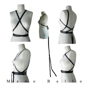 Black Leather Body Harness or Bow Belt with Wedding Dress Train, Wrapping Body Harness, Extra Long Wedding Sash, Leather Infinity Scarf