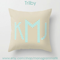 "Monogram Personalized Custom Pillow Cover ""Trilby"" 16x16 Unique Gift for Her Him Couch Bedroom Room Cream Teal Geometric Chevron Simple"