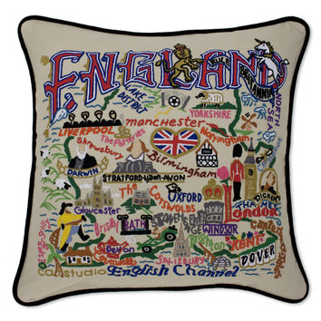 England Hand Embroidered Pillow
