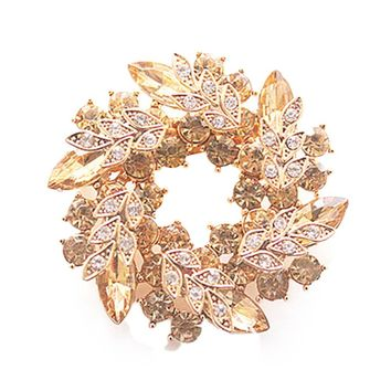 Crystal Rhinestone Gold Color Flower Brooch