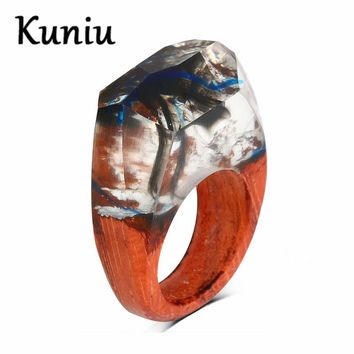 Fashion white/blue/Rainbow color resin wood rings For women/mens forest wood  ring Couple jewelry Dropshipping