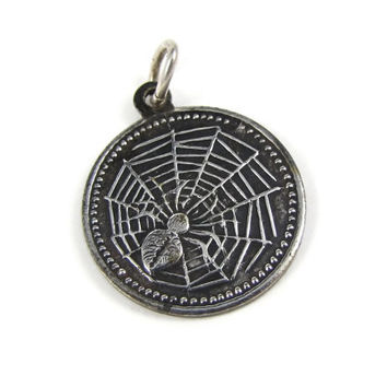 Lucky Charm - Victorian Spider Web Good Luck Charm, Four Leaf Clover, Number 13, Horseshoe, Ivy Symbols, Silver Plate, Charm Bracelet