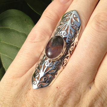 Super 7 Amethyst Smoky Quartz Clear Quartz Rutile Goethite Lepidocrocite Cacoxenite Melody's Stone Sterling Silver Statement Ring Size 7.5