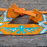 tribal native american bead loom bracelet turquoise and orange eagle