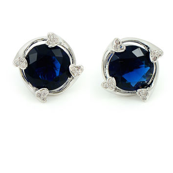 Deep Blue CZ Platinum Plated Stud Earrings with Peek-a-boo Pearl