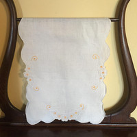 Vintage linen embroidered dresser scarf,   Rectangular, Gold White Flowers, Scalloped edges, 1950s